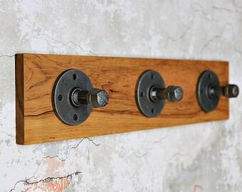 Industrial Pipe Coat Rack, Wall Rack, Black Iron Pipe Coat Rack, Coat Rack, Cherry Wood