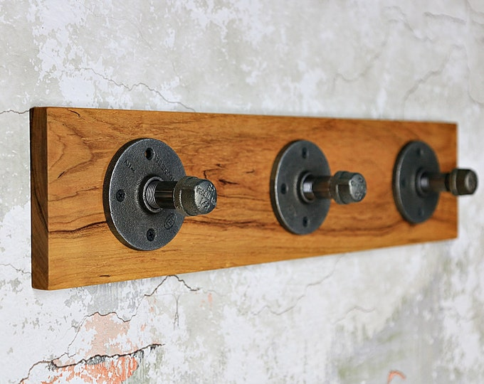 SALE, Price Reduced!!! Industrial Pipe Coat Rack, Wall Rack, Black Iron Pipe Coat Rack, Coat Rack, Cherry Wood