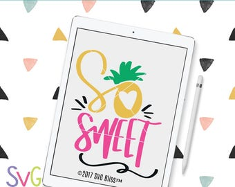 Sweet SVG, Pineapple, Girl, Handlettered, Summer, Tropical, Cute, Original, DXF, Cut File, Cricut & Silhouette Compatible Design, SVG Bliss