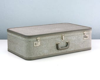 Extra Large Vintage Suitcase by Travel Joy, Tweed Suitcase with Bright Red Interior, Excellent Condition
