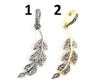 Mothers Day Sale 1 Pc Pave Diamond Leaf 925 Sterling Silver & Vermeil  Pendant--Leaf Pendant (You Choose) 32mmx9mm PD789