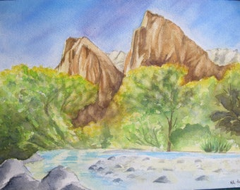 American landscape watercolor