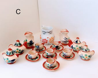 Miniature clay dishes,Terra Cotta Clay Mexican miniature, Pottery mug, Vintage miniature,Day of the Dead,Frida Kahlo, collecttibles