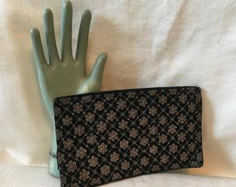 Black Velvet Clutch with Metallic Floral Pattern