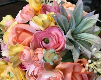Quick Ship - Peach, Blush, Pink, Yellow Spring Colors Bridal Bouquet with Succulents, Ranunculus, Roses, Tulip, Lilac and Burlap Lace Wrap