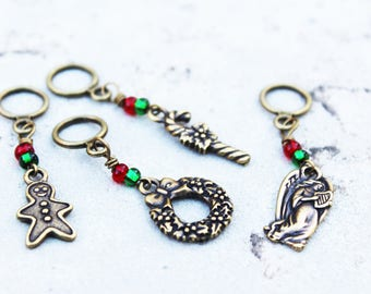 Bronze Christmas and Winter Non-Snag Stitch Markers - TierraCast Charms