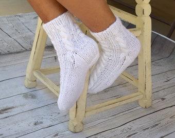 Bed socks white hand knitted socks cable knits womens socks girls socks gift for her cozy sleep hygge warm socks Christmas stocking stuffer