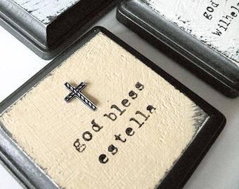 Baptism Gift Idea, Hand Painted wall hanging, Baptism or First Holy Communion Keepsake, Christening Gift, Godchild gift, First Communion