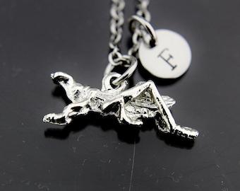 Silver Grasshopper Charm Necklace, Grasshopper Charm, Grasshopper Pendant, Personalized Necklace, Initial Charm, Initial Necklace