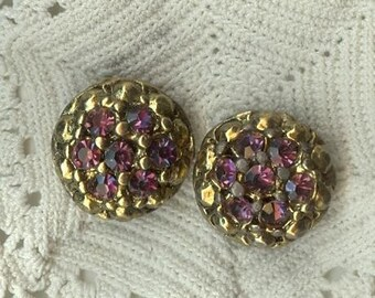 BRASS and  RHINESTONE BUTTONS, Set of 2, Old,  Heavy Metal Shank, Purple Glass, Vintage Collectible Sewing