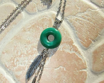 Necklace with donuts in polymer clay color jade made entirely by hand