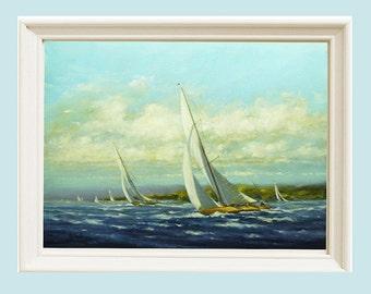 Sailing painting print, Print Seascape Sailing, Sailboat painting, Wall art, art print, Maine art, giclee print, Oil painting, Applegate
