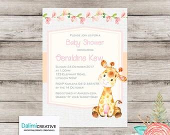 Baby Shower Invitation - Giraffe Baby Shower Invitation - Cute Shower Invitation - Printable Invitation - Personalised - Digital File!