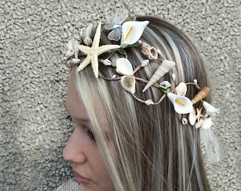 Beach wedding crown, Seashell hairpiece, Mermaid tiara, Beach Bridal Hair, seashell headband, Starfish