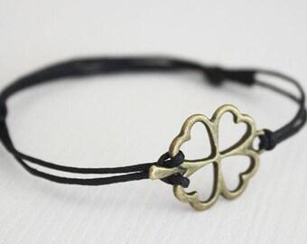Four Leaf Clover Bracelet, Shamrock Anklet, Antique Brass Bracelet, Bronze Bracelet, Irish Jewelry, Good Luck, Lucky Bracelet