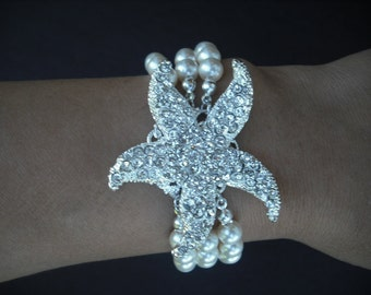 Sarfish Version 3, Triple Strand Bridal Bracelet, Rhinestone Crystal Bracelet, Vintage Style Bridal Jewelry, Weddng Jewelry