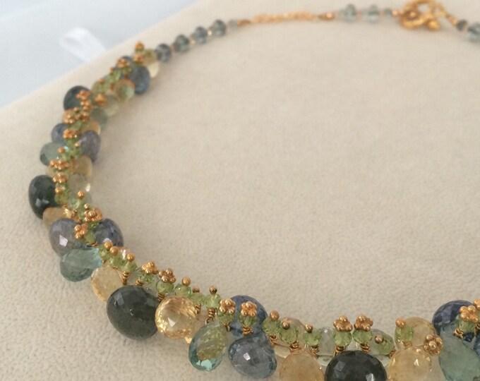 Autumn Inspired Gemstone Necklace in Gold Vermeil with Moss Aquamarine, Citrine, Peridot, Green Amethyst, Mystic Green Quartz, Teal Quartz