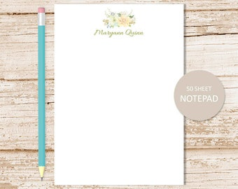 personalized notepad . floral notepad . peach flower, flowers note pad . watercolor notepad . personalized stationery . womens stationary