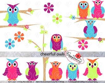 Cheerful Owls Digital Clipart Set (300 dpi transparent png) Owl Floral Flower Tree Branch Clip Art