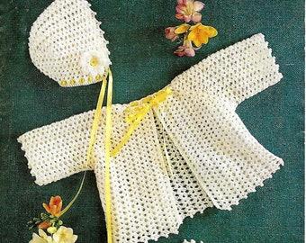 LADYSHIP 5035 Vintage Baby Matinee Set Crochet Pattern Instant Download