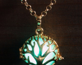 Glowing Tree of Life Necklace, Green Tree of Life Locket, Golden Pendant, Fairy glow Jewelry, Green LED light