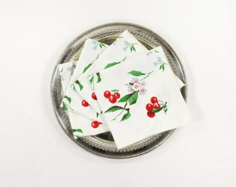 Vintage Cherry Napkins - Wilendur Cherries and Flowers in Gray, Red, Green -  Fruit & Floral Cotton Napkins