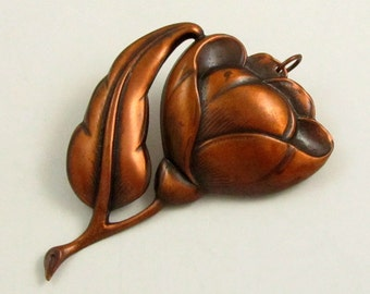 Vintage 60s Large Copper Flower Pendant, 3.25 Inches