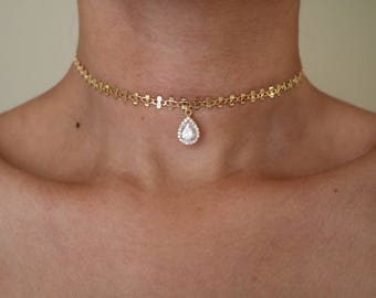 CZ Diamond Drop Choker - Gold Choker - Gold Chain Choker - Gemstone Choker - Diamond Necklace - CZ Stone Necklace - Gold Necklace