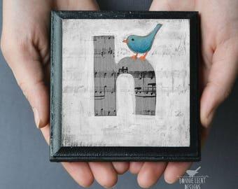 Bird Nursery Decor, Letter H Alphabet Art Block, ABC Print for Kid's Rooms, Bird Baby Shower Gift, Monogram Letters, Wall Letters