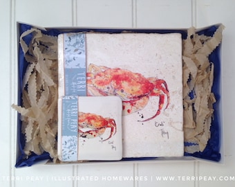 Crab Placemat & Coaster, Gift set Crab, Fishing, Nautical, Sea, Ocean, Coaster, Personalised, Home, Accessory, Kitchen, Placemat, Interior