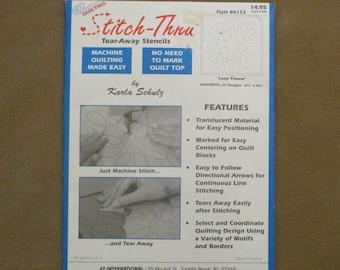EZ Quilting Stitch-Thru Tear Away Stencils By Karla Schulz 24 Designs Loop Flower Machine Quilting Style 6112
