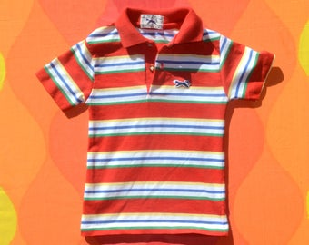 80s vintage polo golf shirt FOX red striped kids youth children 6 preppy