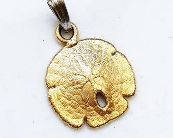 diy jewelry supply--recycled jewelry vintage brushed gold tone metal sand dollar pendant