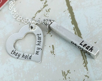 "Sterling silver ""they hold my heart"" mother necklace - Heart & personalized swivel bar necklace - Engraved Necklace - Personalized Necklace"