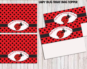 LadybugTreat Bag Toppers, Printable, Birthday Party Printable,Ladybug Label Cards , Instant Download, Ladybug  Party