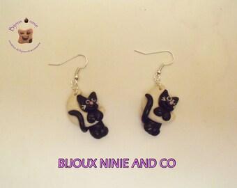 Black Cat on Moon Fimo, handmade earrings
