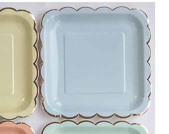 Blue Paper Plates Pastel Blue Party Decor Birthday Decorations Dinner Plates Scalloped Edge Gold Party Supplies Cake Table Tableware  sc 1 st  Etsy Studio & WHITE PAPER PLATES (Set of 14) - White Square Paper Plates (23cm x ...