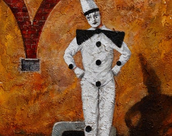 Pierrot, Commedia dell'arte, Zanni, masks, Italy, theatre, wall art, oil, acrylic, painting