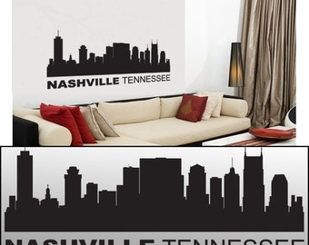 """Wall Decal Sticker Nashville Tennessee Skyline 22"""" Tall 54"""" Wide in White or Black"""