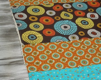 Plush fleece Baby Blanket/Modern Quilt - gender neutral - bold blooms - orange, teal, brown, yellow, white