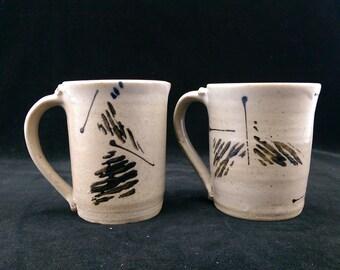 Studio Pottery Mugs Set Of 2 Hand Crafted Tea Cups