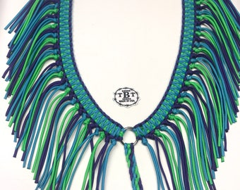 fringe breast collar, custom horse tack, purple breast collar, turquoise horse tack, neon green horse tack, paracord fringe breast collar