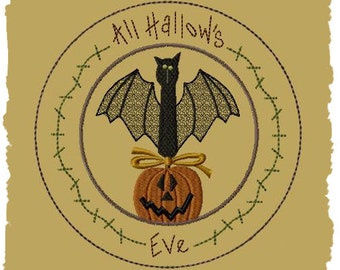 Primitive Machine Embroidery Design-All Hallows Eve Candle Mat-6 Inch-INSTANT DOWNLOAD