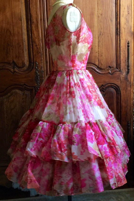 Vestido de fiesta de la década de 1950 rosas Vintage años 50
