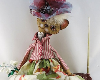 Lovely cat doll in magnificent hat-flower,Interior doll,OOAK art doll,primitive,cat doll,cloth doll,cat animal decor,kitty decor,stuffed toy