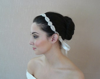 Rhinestone Headband Attached to a Double Sided Satin Ribbon in Ivory, White, Black - Ready to ship in 3-5 days