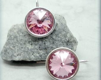 Lt Rose Rivoli Earrings, October Birthstone Earrings, Swarovski Crystal Earrings, Sterling Silver, Minimalist, Bridesmaid Gift, Pink