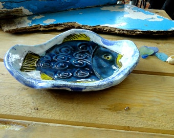 ceramic dish decorated with a fish-art of the table decoration Navy-tray - SOAP dish, sponge
