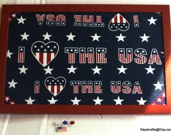 Patriotic Cork Board, Red White Blue Corkboard, Love USA Tack Board, 17x11 Cork Pin Board, USA Message Board, Red Frame Cork Board