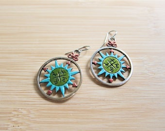 Compass Map Ship Nautical Hand Painted Earrings